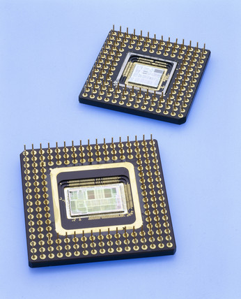 Intel 386 and 486 microprocesors, 1985 and 1989.