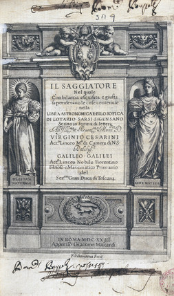 Title page of 'Il Saggiatore' (The Asayer), by Galileo, 1623.
