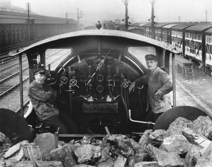 Driver and fireman of a  LB&SCR, locomotive, 1905.