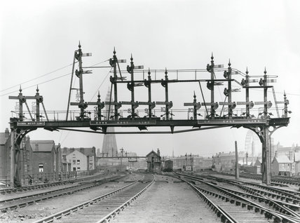 Signalling at Central station, Blackpool, c 1921.