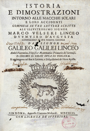 Title page of 'History and Demonstrations...' by Galileo, 1613.