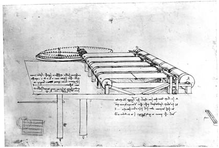 Cloth raising machine from Leonardo da Vinci's notebooks, late 15th century.