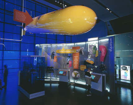 Autosub in the Antenna area, Wellcome Wing, Science Museum, 2000.