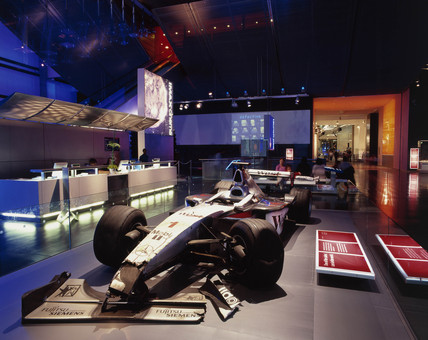 Mika Hakkinen's crashed Formula One racing car, Science Museum, 2000.