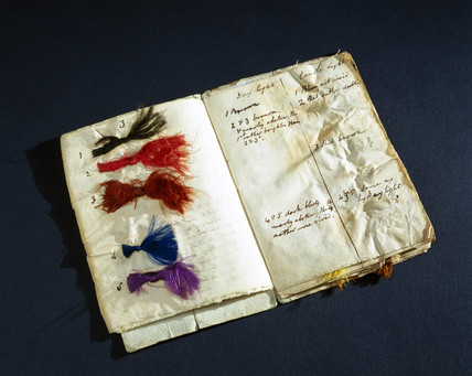 Booklet of coloured silk threads, c 1825-1844.
