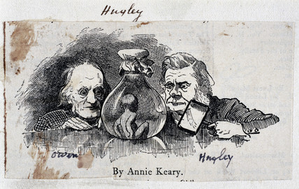 Thomas Henry Huxley, biologist, and Sir Richard Owen, zoologist, c 1863.