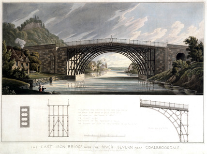 'The Cast Iron Bridge over the River Severn near Coalbrookdale', 1823.