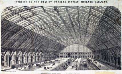 'Interior of the New St Pancras Station, Midland Railway', London, 1869.