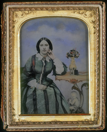 Portrait of a seated lady, ambrotype, c 1855.