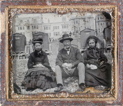 Group of people on a beach, ambrotype, c 1870.