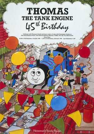 Thomas the Tank Engine 45th birthday', NRM poster, 21 July 1990.