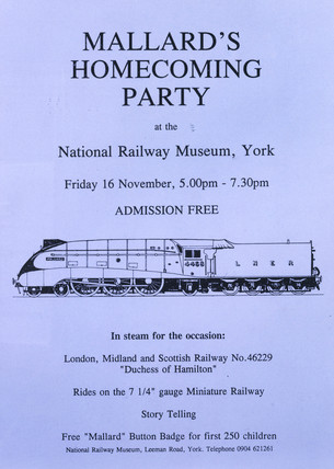 'The Mallard's homecoming party', NRM poster, 16 November 1990.