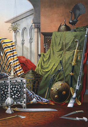 Selection of weapons and fabrics from Tunisia, 1876.