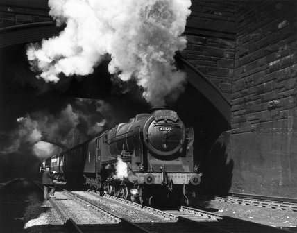 Patriot clas steam locomotive, Edge Hill Cutting, Liverpool, early 1950s.