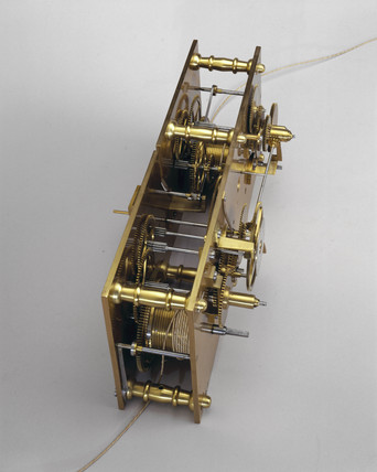 Cog mechanism from Vines' clock showing solar and sidereal time, 1836.