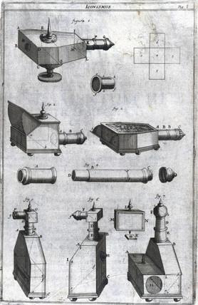 Designs of portable camera obscuras, c 1685-1686.