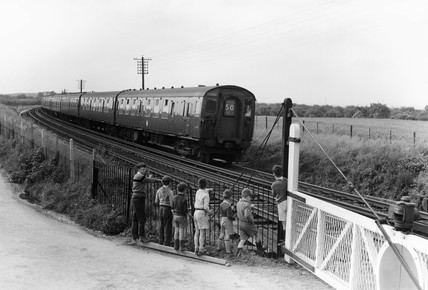 Electric powered train, Faversham, 1959. El