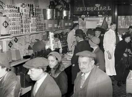 Shoppers waiting to be served at a J Sainsbury store, October 1931.