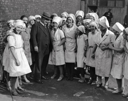 Ernest Bevin canvasing female factory workers, Gateshead, 15 October 1931.
