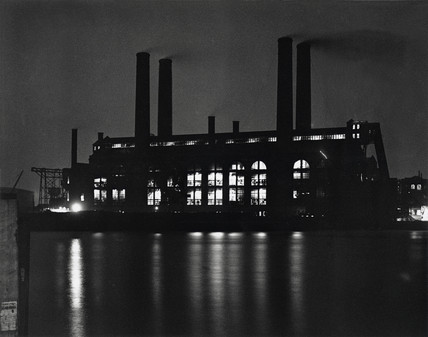 Lots Road Power Station at night, Chelsea, London, 26 November 1931.