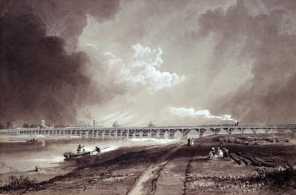 Shoreham Bridge over the River Adur, West Susex, c 1850.