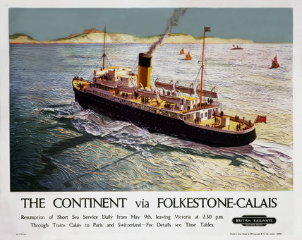 'The Continent via Folkestone-Calais', BR poster, 1948.
