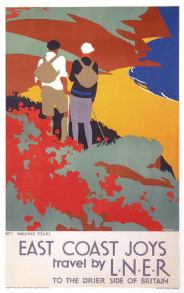 'East Coast Joys No 1 - Walking Tours', LNER poster, 1931.