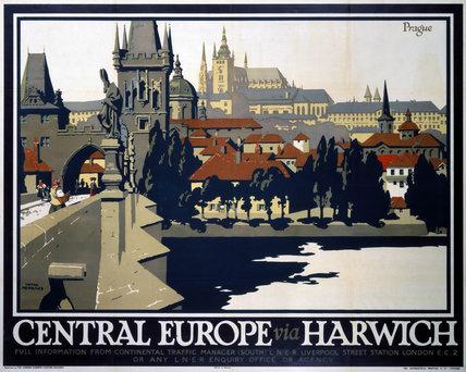 'Central Europe via Harwich', LNER poster, 1923-1947.