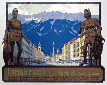 'Innsbruck via Harwich', LNER poster, 1923-1947.