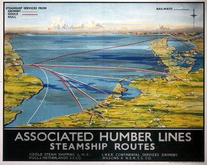 'Asociated Humber Lines', LNER/LMS poster, 1930.