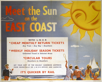 'Meet the Sun on the East Coast', LNER poster, 1923-1947.