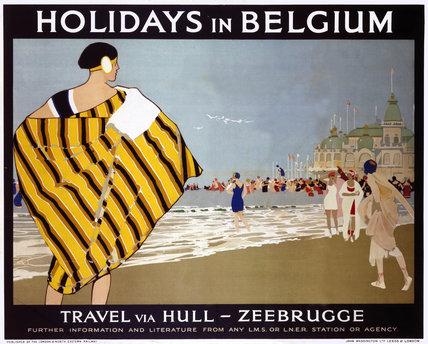'Holidays in Belgium', LMS/LNER poster, 1923-1947.