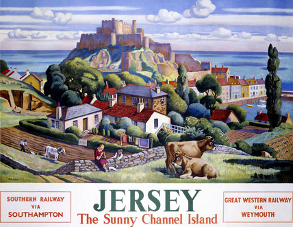 'Jersey: The Sunny Channel Island', SR/GWR poster, 1947.