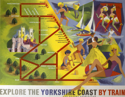 'Explore the Yorkshire Coast by Train' BR poster, 1950s.