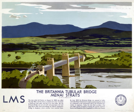 'The Britannia Tubular Bridge', LMS poster, 1923-1947.