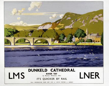 'Dunkeld Cathedral - River Tay', LMS/LNER poster, 1923-1947.