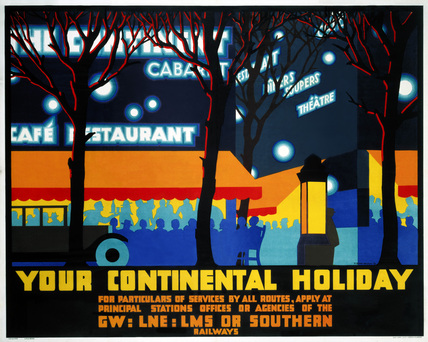 'Your Continental Holiday', GWR/LMS/LNER/SR poster, 1932.