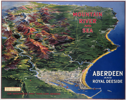 'Mountain, River and Sea, Aberdeen & Royal Deeside', poster, 1914.