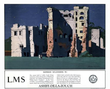 'Ashby-de-la-Zouch', LMS poster, 1923-1947.
