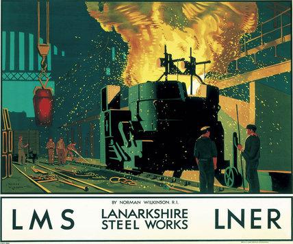 'Lanarkshire Steel Works', LMS/LNER poster, c 1935.