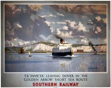 'TS Invicta leaving Dover', SR poster, 1946.