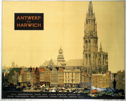 'Antwerp via Harwich', LNER poster, 1923-1947.