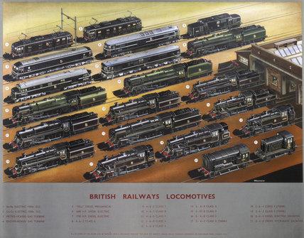 'British Railways Locomotives', BR poster, c 1950s.
