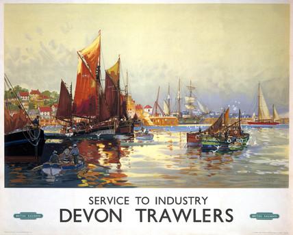 'Devon Trawlers', BR poster, 1948-1965.