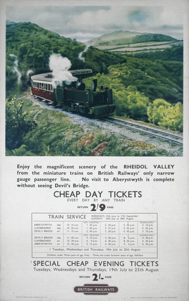 'Rheidol Valley - Cheap Day Tickets', BR poster, 1948-1965.