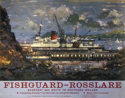'Fishguard-Roslare', BR poster, 1960.
