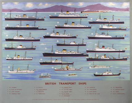 British Transport Ships', BR poster, 1950s.