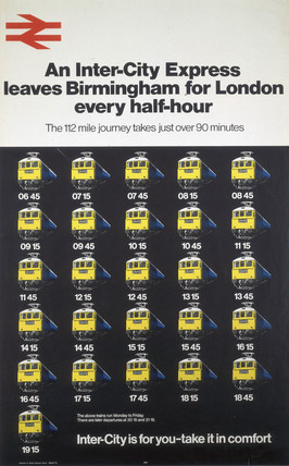 'An Inter-City Expres leaves...every half-hour', BR poster, 1972.
