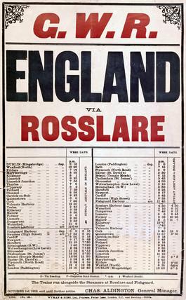 'England via Roslare', GWR poster, 1919.