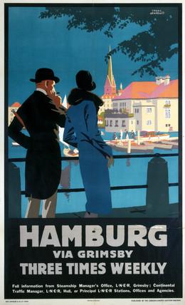 'Hamburg via Grimsby', LNER poster, 1923-1947.